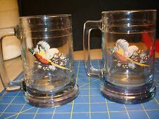 PHEASANT DESIGNED 2 LARGE  GLASS MUGS