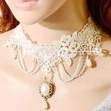 Choker weiß Gothic Spitze Perlen Collier Kragen Victorian Halsband Barock Blumen