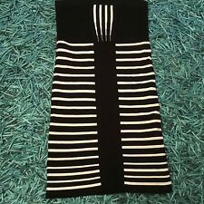 RIVER ISLAND SIZE 12 BLACK-WHITE STRIPE STRECH TUBE DRESS SMART SUMMER