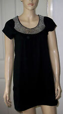 PUMPKIN Black Sequin Neck T Shirt Dress - Front Pocket Detail Size: 8 BNWT   c45