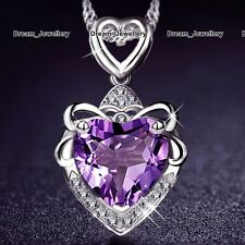 Heart Amethyst Pendant Necklace Silver Charms Jewellery Mum Gifts for Her Women