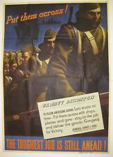 Vintage 1940s WWII Poster Soldiers Marching onto Transport to Europe