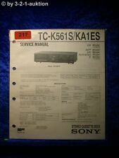 Sony Service Manual TC K561S / KA1ES Cassette Deck (#0217)