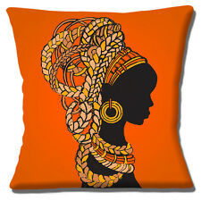 "AFRICAN TRIBAL LADY ORANGE YELLOW BROWN SHADES ETHNIC 16"" Pillow Cushion Cover"