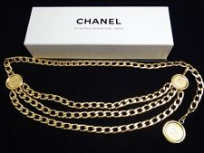 "EXCELLENT Authentic CHANEL VINTAGE COCO TRIPLE CHAIN CAMBON BELT 32.5"" NECKLACE"