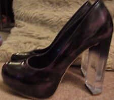 Purple Black Clear Block High Heels Court OFFICE Occasion Party Shoes 39 5.5 6
