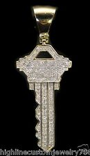 0.60ct New Men's Genuine Round Cut Diamond 10K Yellow Gold 'KEY' Design Pendant