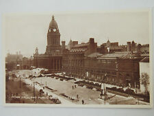 Town Hall & Public Library Leeds Old Postcard Valentines Phototype