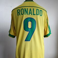 Brazil Home Football Shirt Adult Large RONALDO #9 1998/2000 World Cup