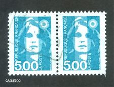 FRENCH POSTAGE - MARIANNE (TYPE BRIAT) 2 X 5,00 STAMPS LA POSTE FRANCE 1990