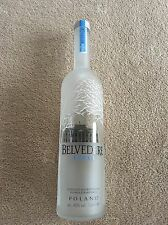 Belvedere Vodka Empty Bottle 1 litre Large Size Dummy Barware Display Glass Cork