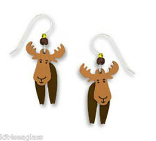 Sienna Sky 2 Part Moving Moose EARRINGS Sterling Silver Earwires Dangle Gift Box