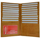 Tan Genuine Leather 19 Slots Credit Card Holder Tall Wallet ID Window Men New