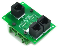 RJ45 8P8C Splitter Board Interface Module with Simple DIN Rail Mounting Feet.