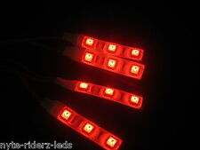 RED 5050 SMD LED 4 STRIPS 3 LED EACH FITS ALL YAMAHA MOTORCYCLES TOTAL 12 LEDS