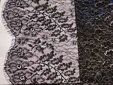 Black with Silver Edging Fine Chantilly Lace from France! Very Elegant!