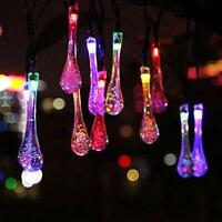 20ft 30 LED Outdoor Garden Solar String Lights Water Drop Fairy Waterproof New