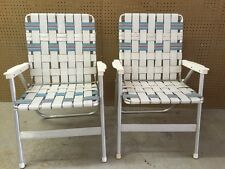 Pair of Vintage Aluminum Webbed Folding Lawn Chairs - White Blue Mid Century