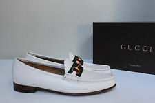 New sz 8.5 / 39 Gucci White Leather 1953 Horsebit Loafer Women's Flat Shoes