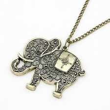 Fashion Cute Vintage Retro Charms Hollow Out Elephant Metal Necklace Women Jewel