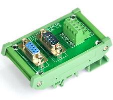 DB9 D Sub DIN Rail Mount Interface Module, Male / Female, Breakout Board.