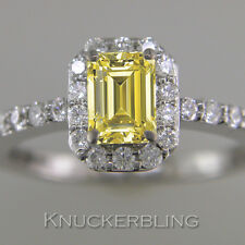 GIA Certified Natural Fancy Yellow Diamond Ring 1.32ct Emerald Cut 18ct Wh'Gold