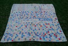 ESTATE FIND ANTIQUE POSTAGE STAMP PATCHWORK QUILT CRAZY BLOCKS FULL FARMHOUSE