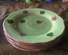 """Wedgewood Franciscan Apple Pie / Granny Smith 8 3/4"""" Salad Plates Set Of 4 - NWT"""