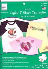 """June Tailor LIGHT T-SHIRT TRANSFER Iron On Inkjet Printers 3 Sheets 8.5"""" X 11"""""""