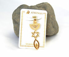 pendant Gold Filled.Menorah / Star Of David / Fish. symbol Messianic Seal israel