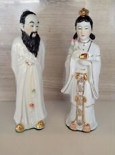 "Very Old Vintage Chinese Couple - Estate Figurines, Mid Century 8.5"" Tall"