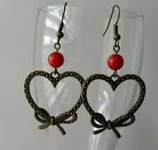 Retro Fashion Earrings Heart Charm Red Bead Bronze Dangle Jewelry Handmade Us