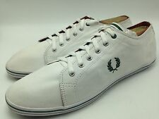 4E12 Fred Perry Twill Canvas Sneakers Casual Flat laced White Men Shoes Size 12