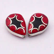 BDS252 Tibetan Nepalese Handmade silver plated Coral Black howlite 2 Beads