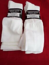 6 Pair West 25th Street Mild Compression Knee Hi Sock White Made in USA 5-10