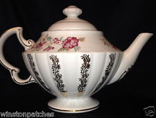 WOOD & SONS MARLBORO TEAPOT & LID 42 OZ GOLD TRIM ELLGREAVE PINK FLOWERS