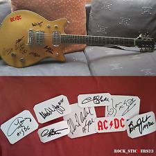 AC/DC stickers autographs vinyl Angus & Malcolm Young,Chris Slade,Brian Johnson