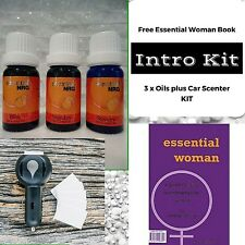 Aromatherapy Gift Pack - Book & Car Scenter PLUS Kit of 3 Oils
