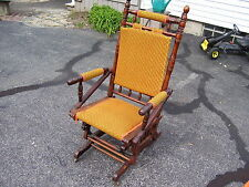 Ant. Victorian Eastlake Carved WALNUT PLATFORM GLIDER Rocker Rocking Chair 1876