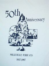 Vintage 50th Millville Fire Company 80's 1987 Volunteer Firefighters T Shirt M
