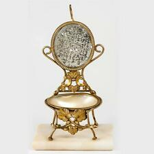 Antique Palais Royal Trinket Pocket Watch Stand, Mother of Pearl Miniature Chair
