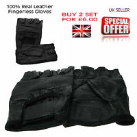 Gothic Biker Black Plain Gloves Real Leather Cycling Driving Fingerless