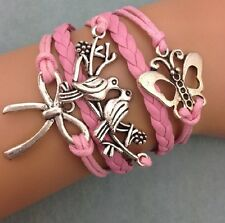 Retro Infinity Butterfly Dove of Peace Leather Charm Bracelet plated Silver  C23