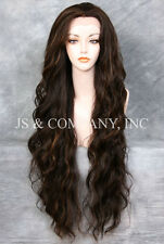 """EXTRA long 32"""" Lace Front Wig HEAT SAFE Brown Blonde Mix Wavy JSTA 4-27"""