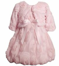 Bonnie Jean Girls Gorgeous Pink Faux Fur Dress Bolero/Shrug Set 3Y