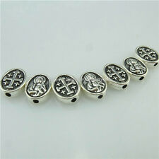 14956 50PC Alloy Antique Silver Vintage Mini Cross Virgin Mary 10mm Spacer Beads