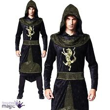 Mens Medieval Prince Knight Hooded Robe Assassin Game Thrones Fancy Dress Outfit
