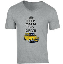 MALUCH POLISH FIAT 126 P KEEP CALM AND DRIVE - NEW COTTON GREY V-NECK TSHIRT