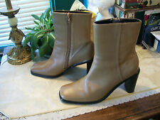 Valerie Stevens Side Zippered Genuine Leather Ankle Boots SZ 7.5M Peanut Butter