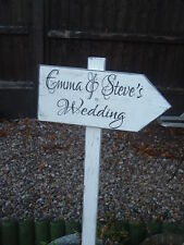 Personalised Wedding Direction Sign on a post Vintage Bride & Groom plaque